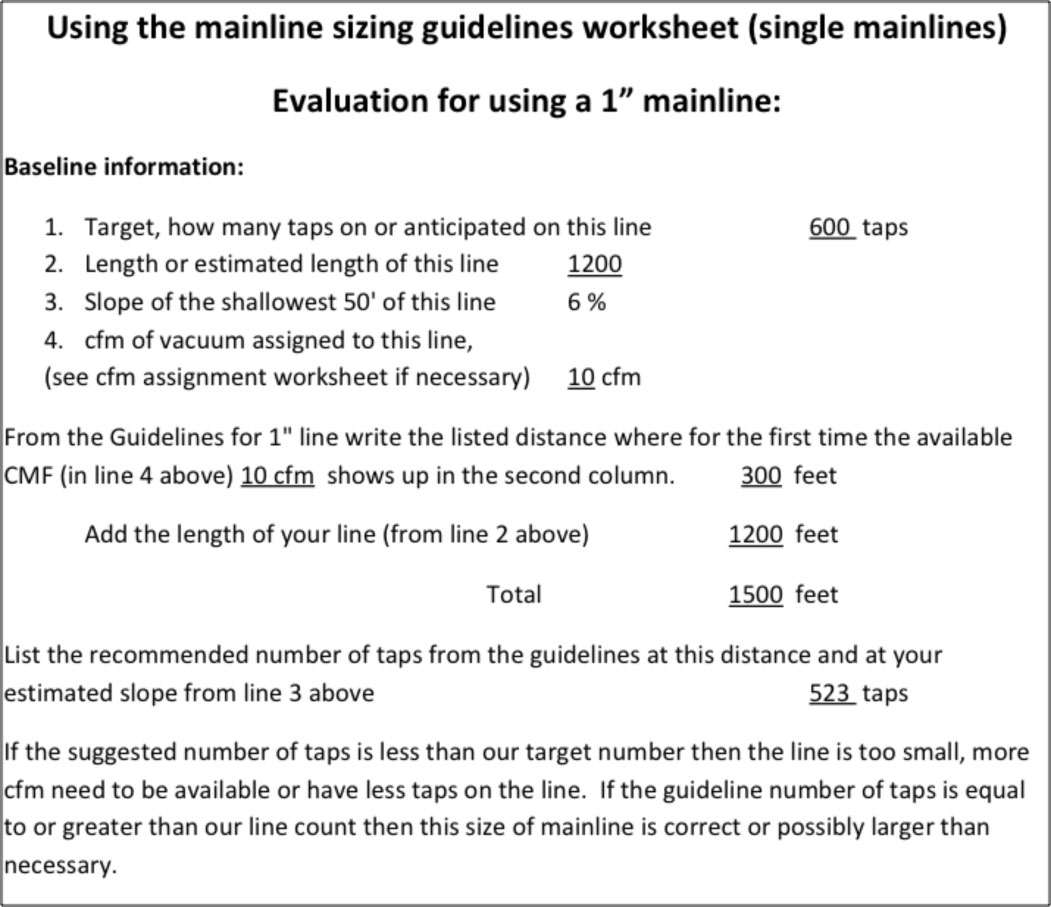 "Mainline sizing guidelines and worksheets for 1"" line 