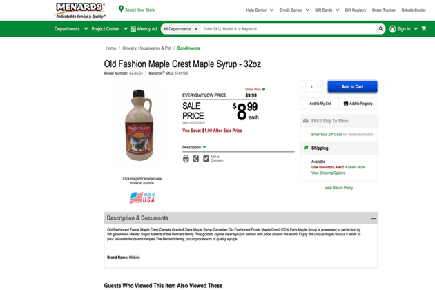 Wisconsin sugarmakers cry foul over misleading Menards syrup